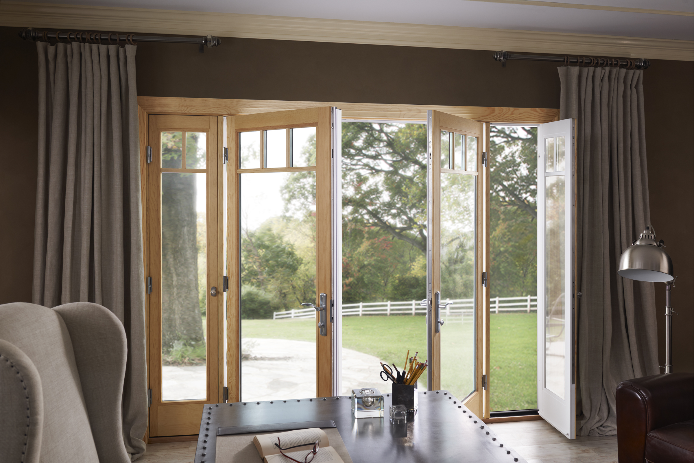 Hinged patio doors for French doors with side windows that open
